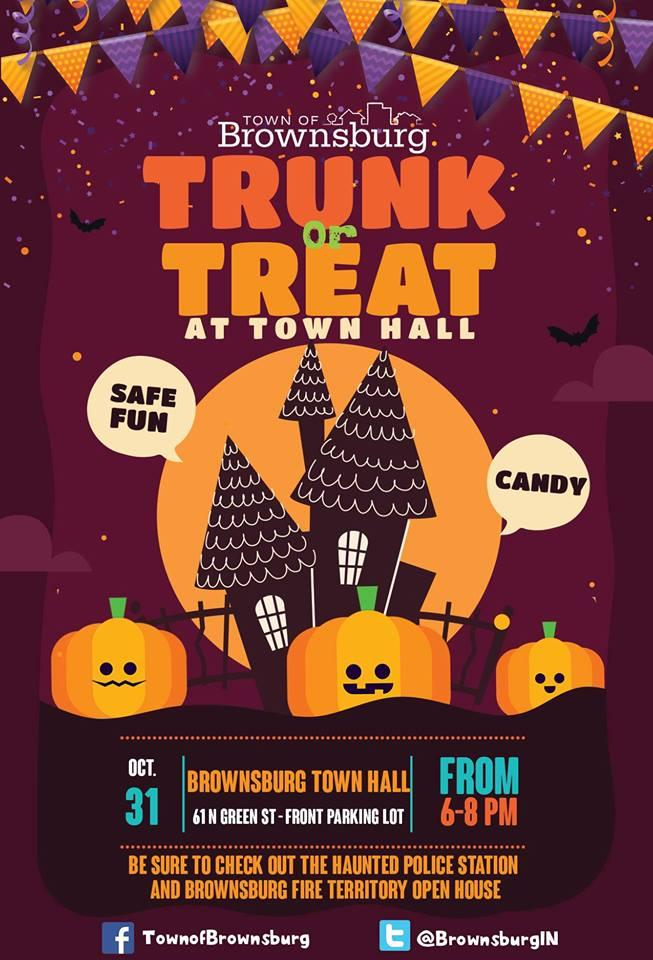 Brownsburg Indiana Halloween 2020 Hours Trunk or Treat at Brownsburg Town Hall   Kids Out and About